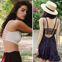 Wholesale Sexy Padded Bra Crop Tops Women Blouse Vest Cut Out Shirt Summer Beach Tank Tops CW22003