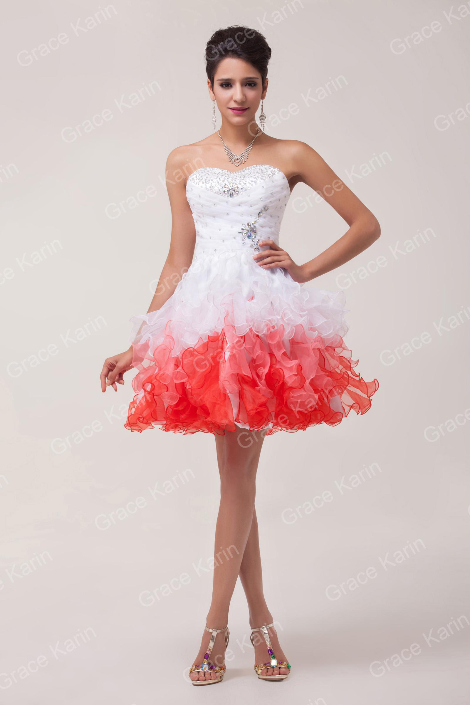 Grace karin 2014 quinceanera short tutu prom dress formal for Short red and white wedding dresses