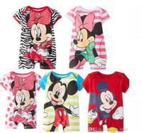 Unisex Summer 100% Cotton In stock 15 pieces lot baby clothing 0-2 years infant one-piece print romper cute cartoon short sleeves rompers TLZ-L0093