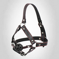 bondage hood - Brand New black ball gag Harness leather bound Bondage hoods Gay SM Fetish Sex toy A002