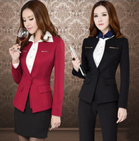 Cheap 2015 new spring business blazer suits fashion and slim OL wholesale high quality women black and red suits