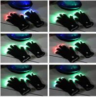 Wholesale Free EMS DHL pairs LED Gloves Flashing Gloves Glow LED Light Up Rave Glove Glow Light Glow Finger Gloves party props