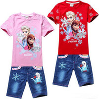 Wholesale Frozen Princess girl suits Cartoon sleeve cotton leisure jeans pants suit children clothing set girls baby set kids set XIATAO002