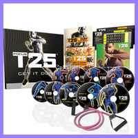 Cheap Exercise Fitness Videos Workout T25 Focus MIB With Resistance Band Shaun T's T25 10 DVD Slimming Body Building Teaching Video Muscle Shaping
