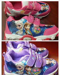 Wholesale Frozen Sneakers Princess Elsa Anna Shoes Sport Shoes for Girls Kids Running Shoes Purple Pink Size pairs