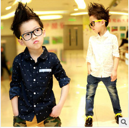Wholesale 2014 Autumn New Fashion Children boys kids Navy style Anchor printing Casual shirts Cotton Long Sleeve Tops Children clothing A4437