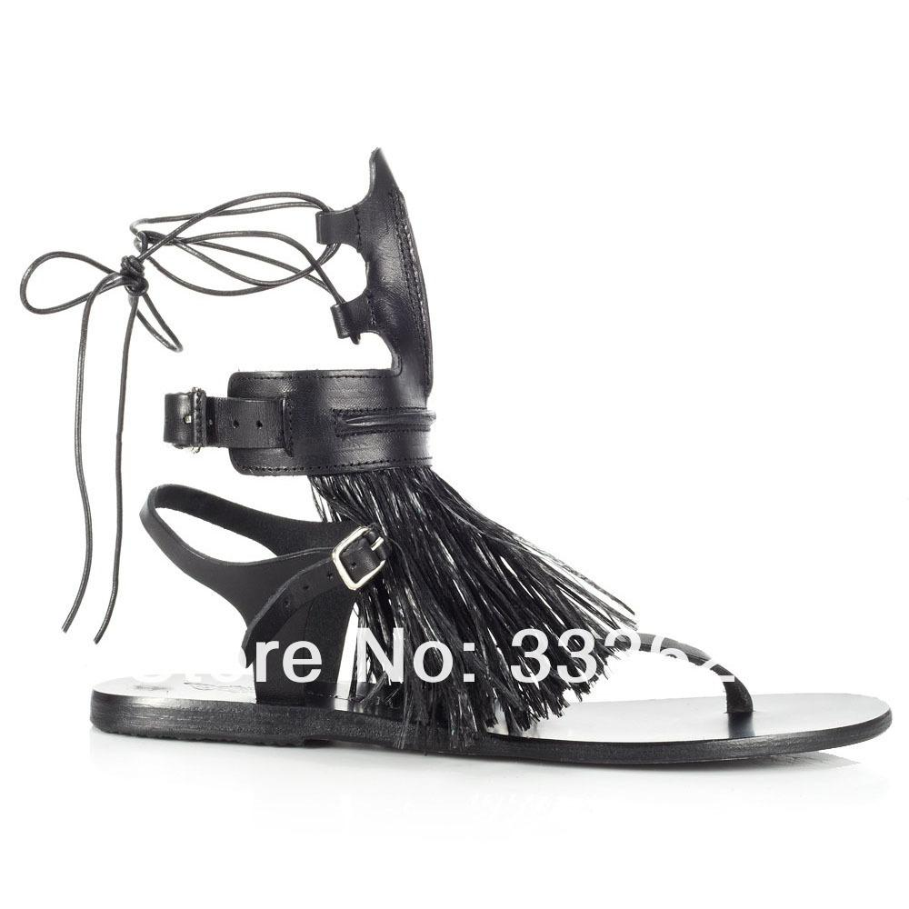 Womens sandals in size 12 - 2014 New Sexy Women Ancient Greek Sandal Flats Cut Outs Low Amp Tall Summer Bootie Gladiator Sandals With Fringes Ladies Shoe Us Size 5 12 Ladies Footwear