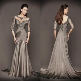 2017 Mère chocolat de luxe de la mariée Sheer Scoop Neck Sweep train 3/4 manches longues perlant robe de mousseline de soie robe formelle Robes