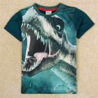 Wholesale baby summer clothes fashion boys tshirt short sleeve animal dinosaur dino shirt kids clothing children boy t shirt green C5031