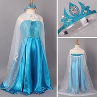 Wholesale Fashion Frozen Elsa long Sleeve blue Dress Children Baby Girl Party princess Tutu lace Sequins Dresses cape crown LY