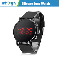 Wholesale Unisex Round Mirror Face Red LED Digital Black Silicone Band Wrist Watch