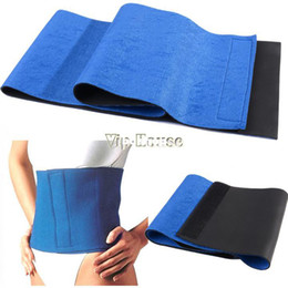 Wholesale New Arrival Adjustable Slimming Waist Belt cinchers Trimmer Exercise Weight Loss Burn Fat Sauna Body Shaper Blue SV005080