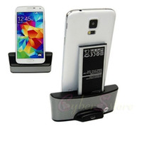 Wholesale For Samsung Galaxy S5 Dual Battery Charging Dock Charger Cradle Desktop Station Stand i9600