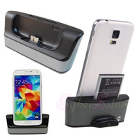 Wholesale For Samsung Galaxy S5 Dual Battery Charging Dock Charger Cradle Station Stand i9600