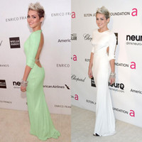 Wholesale 2014 Celebrity Dresses Miley Cyrus Oscar Long Sleeves Backless Crystal Belt Green Sage Sweep train Sexy Prom Dresses Evening Gowns BO5105