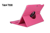 Wholesale 360 Rolative Smart stand Litchi Skin Flip leather case cover for Samsung Galaxy Tab4 Tab S T700 T530 T800