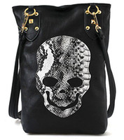 Cheap New Style Fashion Punk Black Skull Face Designer Pu leather Handbag Women's Shoulder Bag,Lady Cross Body Bag Free Shipping