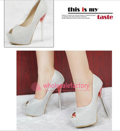 Wholesale 2014 High Heel Sparkly Sequined Silver Gold Black Wedding Shoes cm Sexy Formal Party Pumps Peep Toe Faux Leather Bridal Accessories