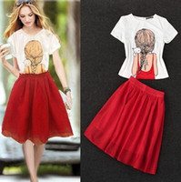 Wholesale 2014 New Europe Style Skirt Set Women and Big Girl s Short Sleeve Top Shirt Gauze Skirt High Quality Women Clothing Can Choose Size