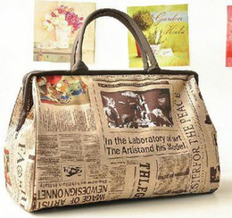 Wholesale 2015 Hot Selling fashion retro vintage newspaper design lady bag handbag shoulder bag