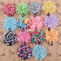 chevron fabric - 2 quot DIY Tulle Chevron Shabby Chiffon Flowers Hair Accessories Fabric Flowers For Headbands Photo Props