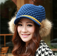 Wholesale The Korean version cute ball knitted Visors caps Autumn winter thickening warm wool Fashion short eaves hats