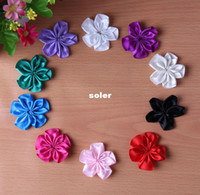 Cheap 200pcs lot Wholesale-Mini Satin Ribbon Single Flowers DIY Hair Accessories Many Colors For You Choose.