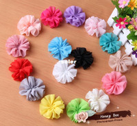 Cheap 2.5Inch Chiffon Flowers Fabric Flowers For Headbands Hair Bows Kid Accessories Ballerina Flowers Unfinished-60pcs.