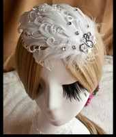 Cheap Free shipping Korean white feather Curly feather hair clip The bride wedding photo headdress Dance performance products