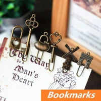 Wholesale 16 in bag Vintage Metal Bookmarks Bronze color Paper clip Page Holder Zakka stationary office School supplies