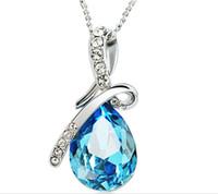 achat en gros de pendentif en cristal collier en argent-Les plus récents bijoux en cristal de collier de l'Autriche de bijoux de mode de femmes de mode collier pendent collier de bijoux collier en argent 925 de collier de couleurs disponibles