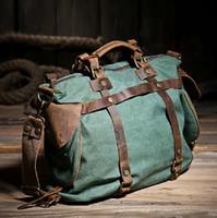 Wholesale 2014 Women Vintage Retro Canvas Leather Weekend Shoulder Bag Duffle Travel Tote Bag