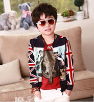Wholesale 2014 Autumn Fashion European and American magazine style children jacket boys National flag pattern outwear kids long sleeve coat A4441