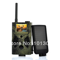 Cheap Wholesale 1440x1080 HD video with audio 12MP GPRS GSM MMS SMTP hunting trail game camera + solar panel Free Shipping