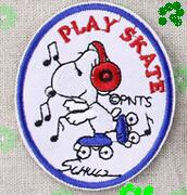 Wholesales 50 Pieces Cartoon Dog Playing Skate (6 x 7.5 cm) Iron on Patch Embroidered Applique (ALY)