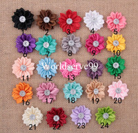 Wholesale 30 X Satin Ribbon Flower Leaf Rhinestone Appliques CM DIY Sewing Wedding Craft Mixed Colored