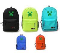 Wholesale 2014 New Colors Luminous Minecraft Casaul Travel Bags Unisex Canvas Backpacks Kids School Bags
