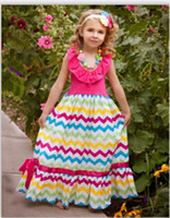 Wholesale Halter dress Rainbow Chevron with Hot Pink Summer Beach Dress pieces