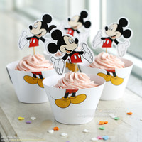 baby shower cups - Mickey Mouse cupcake wrappers toppers cake cups picks boy birthday party decorations supplies baby shower favors