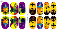 Wholesale 2014 New Punky Nail Wraps Mix Designs Nail Halloween Printack Polish Decal Water Proof Nail Arts Stickers High Quality sheets
