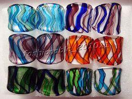 FREE wholesale lot 48Pcs Charm Hand-made Murano glass Rings Jewelry 17-19mm