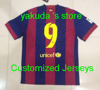 Thai Quality Customized 14- 15 Season FCB 9 Suarez Home Jerse...