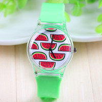 Cheap 7 Styles New Arrival Jelly Silicone Watermelon Fruit Quartz Watch Plastic Women Charm Dress Watch Green Color Silicon Band