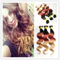 Cheap Hot Queen Hair 3 Tone Ombre Color #1B\33\27 100% Brazilian Human Hair Weft Remy Hair Body Wave Hair Extension Weave Grade AAAAA