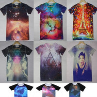 Cheap 4 Size Men Women's Galaxy Space Starry Print Short Sleeve Jumper Top Round T Shirt Casual 1pc lot Free Shipping
