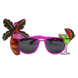 Wholesale Manufacturers selling party funny glasses Coconut trees drink a cup of the crane sunglasses support customize