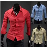 Wholesale 2014 Korean fashion colors men slim fit dress shirts long sleeve designer casual top black shirt male shirt men s clothes clothing