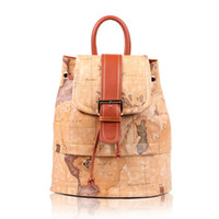 Backpacks Women daily backpack New Vintage Women Brown World Map Print Drawstring Leather Backpack with canvas belts Medium Travel Bag School Backpack mochila Wholesale