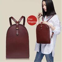 Wholesale Vintage Hot New Zip Designer Brand Black Women Genuine Leather Backpack Wine Red Travel Backpack School Bags Rucksack Sac A Dos zaino