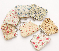 Wholesale NEW High quality Small broken flower designs Hasp Cotton cloth Coin Purses girl a gift